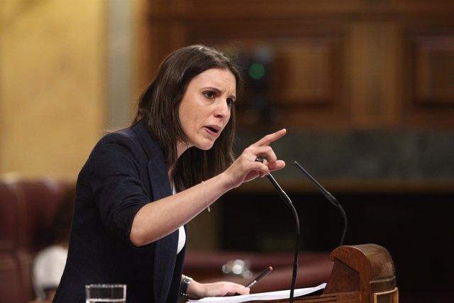 Irene Montero en el debate de la moción de censura contra Rajoy
