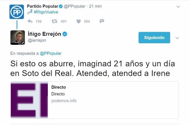El PP vs Íñigo Errejón