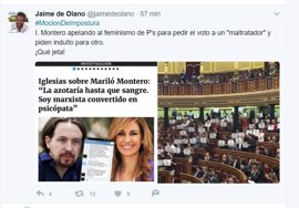 """Diputado del PP recrimina a Irene Montero que pida apoyo para Pablo  Iglesias, el """"maltratador"""""""