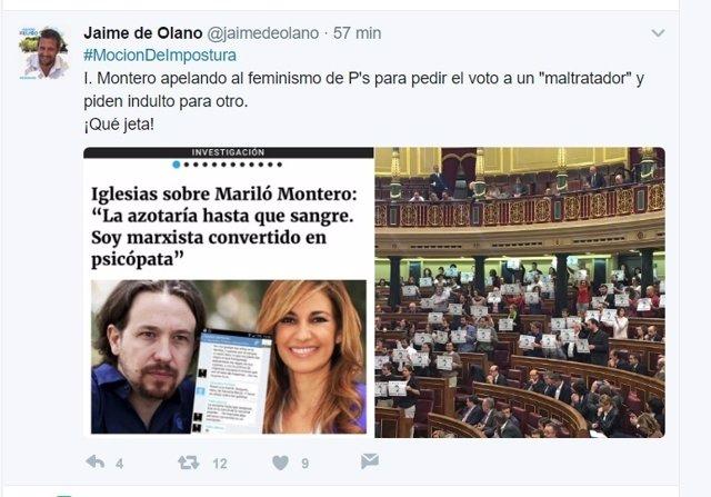 Tuit del diputado del PP Jaime de Olano