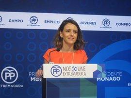 """El PP extremeño tacha la moción de censura como una """"pugna"""" entre el PSOE y Podemos para """"ser los segundones"""""""