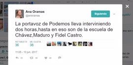 Ana Oramas se queja del largo discurso de Montero, siguiendo la estela a Chávez, Maduro y Fidel Castro