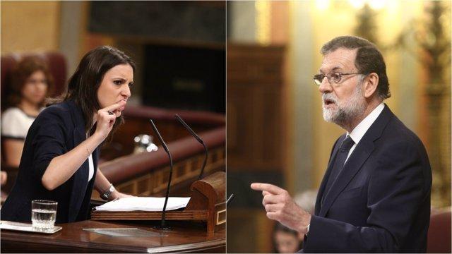 Irene Montero y Mariano Rajoy en el debate de la moción de censura