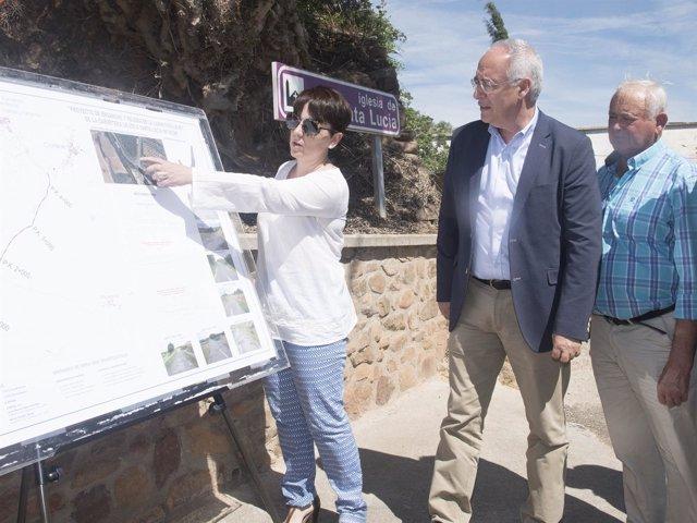 Ceniceros en Santa Lucía de Ocón visita nueva carretera