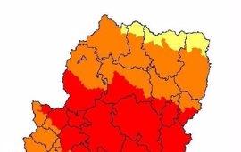 Prealerta roja por riesgo de incendios forestales en la parte central de Aragón