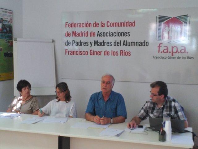 Rueda de prensa en la sede de la FAPA Giner de los Ríos