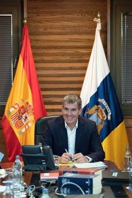 El presidente canario, Fernando Clavijo, durante el Consejo de Gobierno