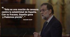 La intervención de Mariano Rajoy en la moción de censura de Podemos, en diez frases