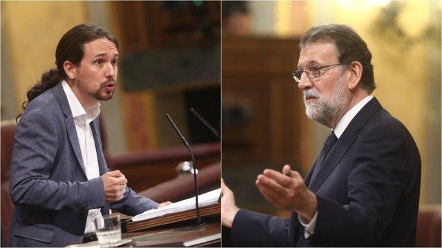 Pablo Iglesias y Mariano Rajoy en el debate de la moción de censura
