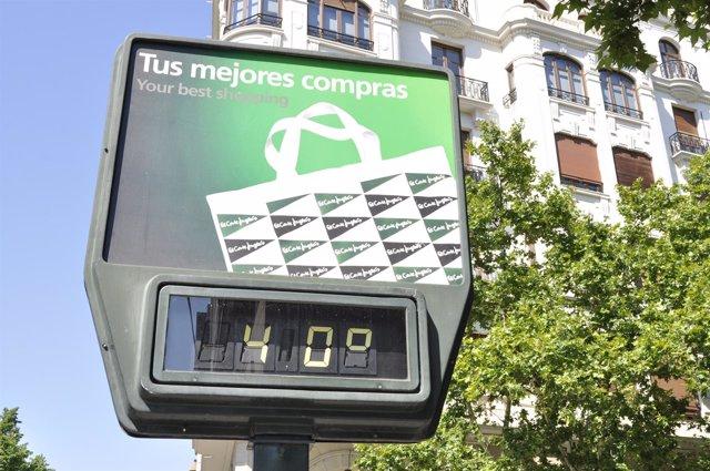 Temómetro en el centro de Zaragoza.