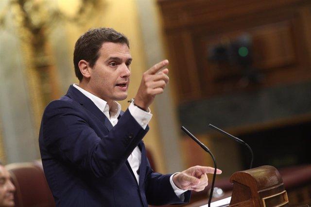 Albert Rivera en el debate de la moción de censura contra Rajoy