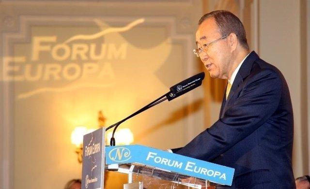 Ban Ki Moon en un desayuno informativo de Nueva Economía Fórum