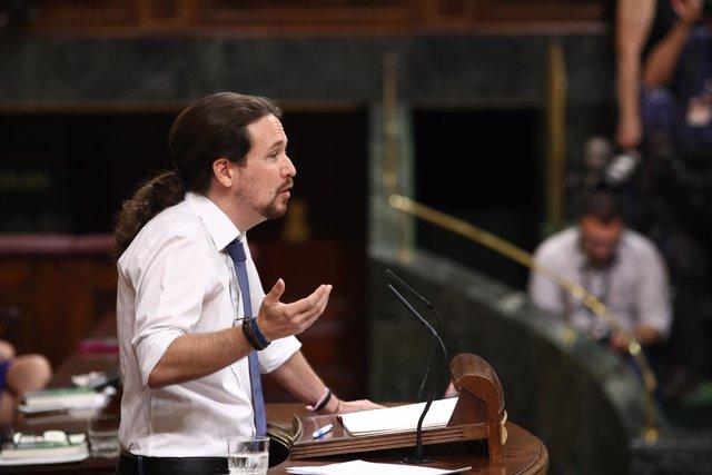 Pablo Iglesias en el debate de la moción de censura contra Rajoy
