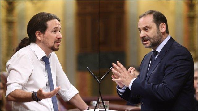 Pablo Iglesias y José Luis Ábalos en el debate de la moción de censura