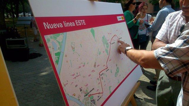 Plano de la nueva Línea Este de Tussam.