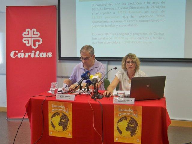 Jaime Sanaú y Cristina García en la presentación de las acciones de Cáritas