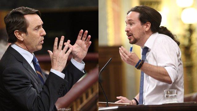 Rafael Hernando y Pablo Iglesias en el debate de la moción de censura