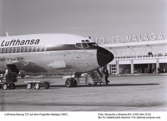 Lufthansa Boeing 727 auf dem Flughafen Malaga (1967).Foto: Deutsche Lufthansa