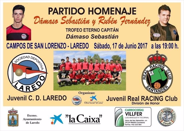 Cartel partido fútbol homenaje a jóvenes fallecidos en accidente