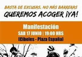 Más de cien colectivos convocan el sábado una manifestación a favor de los refugiados con el lema 'Queremos acoger ¡ya!'