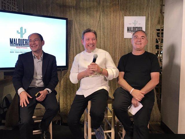 Jaume Alemany (Damm) y los chefs Albert y Ferran Adrià