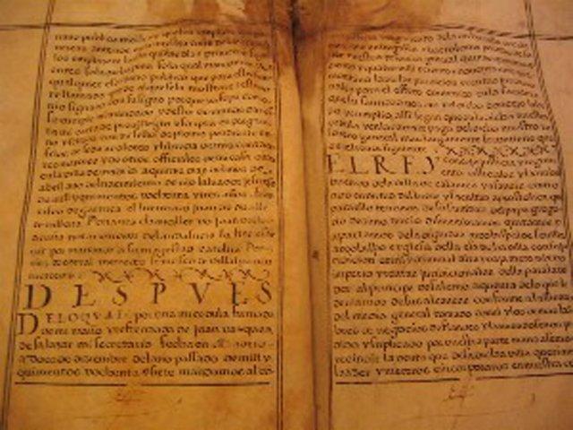 Facsímil del documento de la firma de los privilegios de Zalamea.