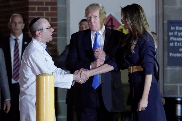 Trump Y Melania Visitan A Las Víctimas Tras El Tiroteo En Una Base De Béisbol