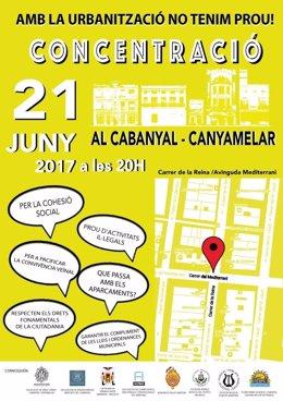 Cartel de convocatoria de la concentración de El Cabanyal