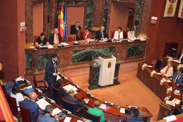 López Miras, durante su comparecencia en la Asamblea Regional
