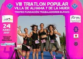 El VIII Triatlón Villa de Alhama y de la Mujer, que patrocina la Fundación de Trabajadores de ElPozo, calienta motores