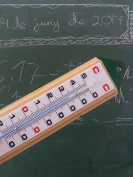 Termómetro en un aula