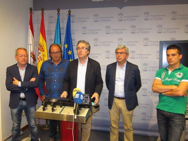 Representantes de Xixón sí puede, IU, Foro, PP y Ciudadanos en Gijón