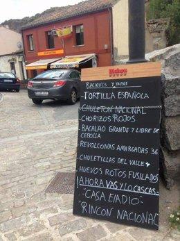 Carta con alusiones franquistas del Bar Eladio