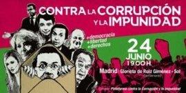 Una veintena de entidades sociales convocan una manifestación contra la corrupción y la impunidad el día 24 en Madrid
