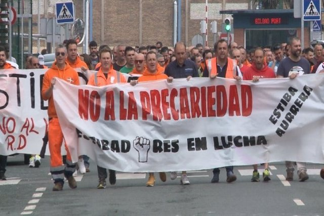 Estibadores de Bilbao en huelga