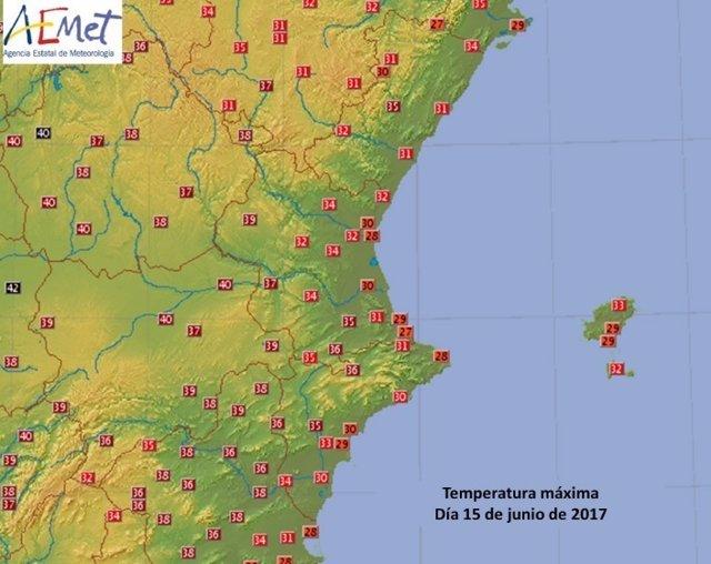 Temperaturas máximas de este jueves en la Comunitat