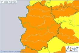 Avisos  de color naranja en Extremadura por calor