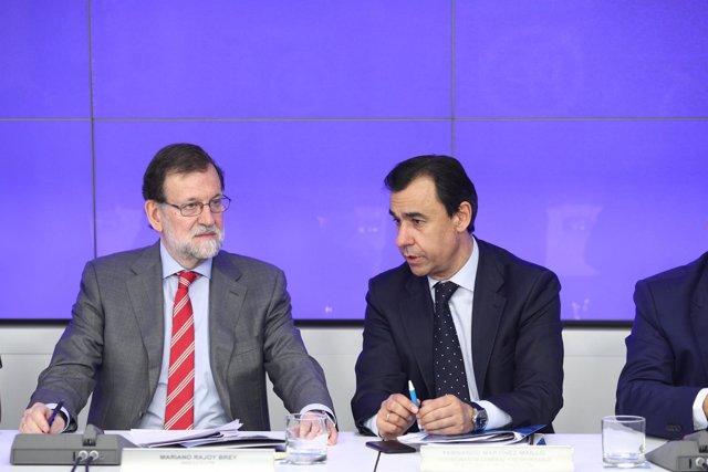 Rajoy y Fernando Martínez Maíllo en la reunión del Comité Ejecutivo del PP