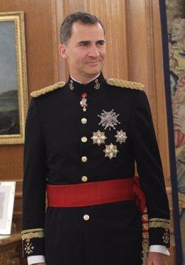 Felipe VI tras recibir el fajín