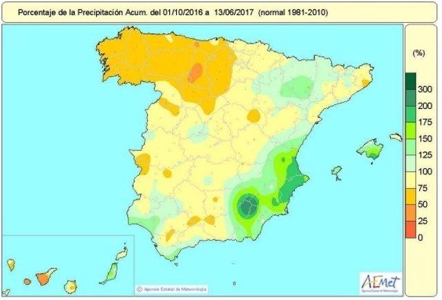 Distribución de lluvias acumuladas en España hasta el 13 de junio