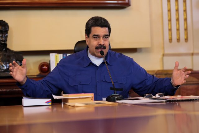 Venezuela's President Nicolas Maduro speaks during a meeting with Vice President