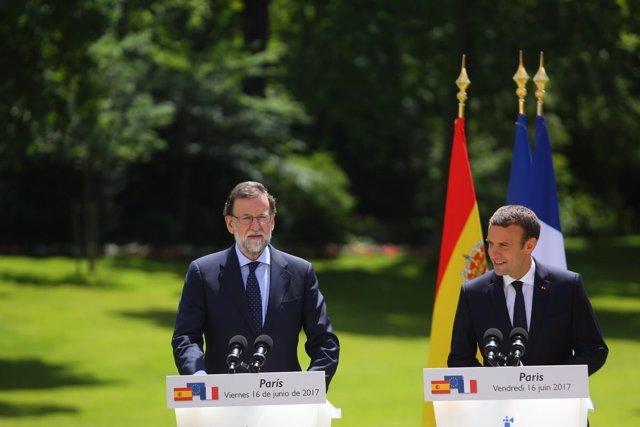 Conferencia de prensa de Rajoy y Macron en el Palacio del Elíseo