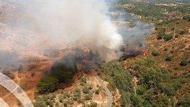 Medios aéreos trabajan en la extinción de un fuego en un paraje de Calañas (Huelva)