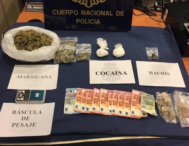 Sustancias intervendias por la Policía Nacional.