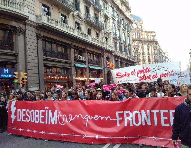 Manifestación en Barcelona el 18 de febrero de 2017 por la acogida de refugiados