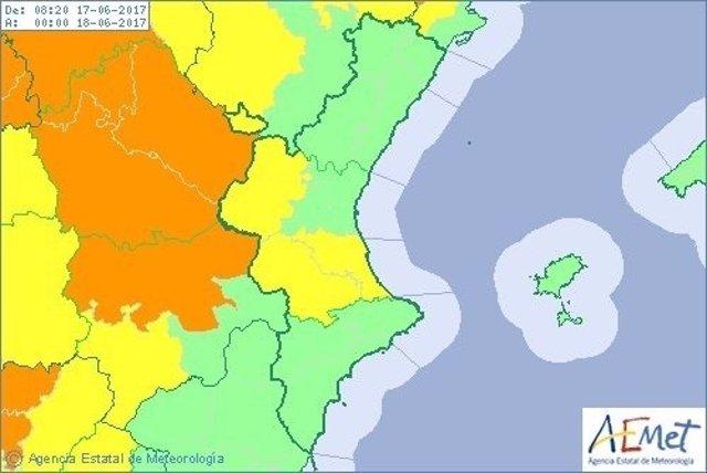 El riesgo se mantendrá todo el sábado en la provincia de Valencia