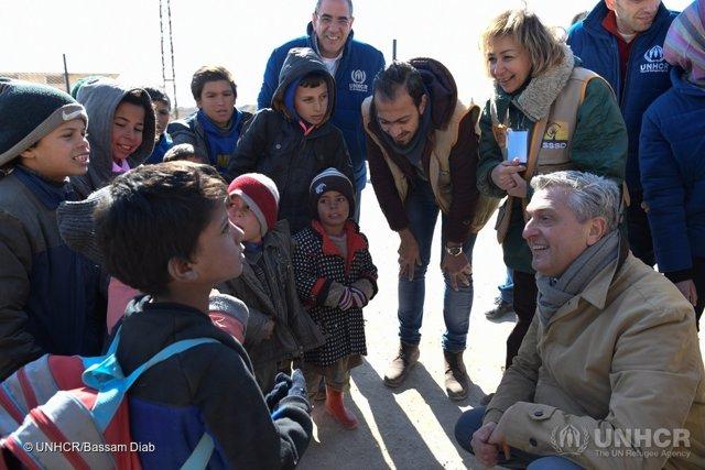 Filippo Grandi visita a desplazado en Alepo