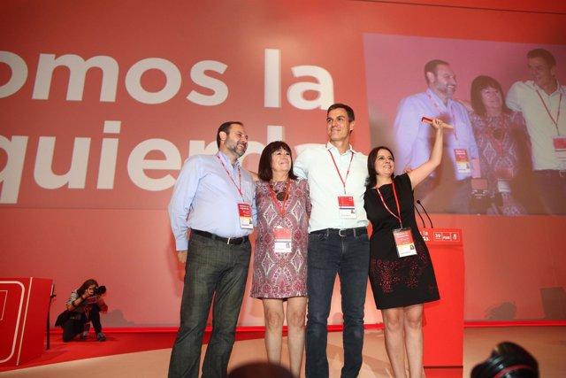Cristina Narbona, Ábalos, Pedro Sánchez y Adriana Lastra en el Congreso del PSOE