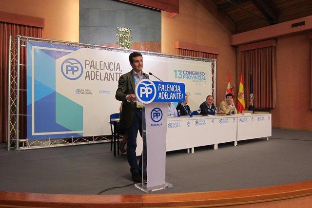 Pablo Casado, en el congreso provincial del PP de Palencia