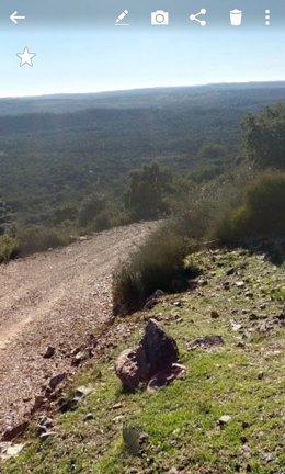 Lugar donde se ha encontrado al peregrino italiano en Almadén de la Plata.
